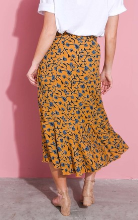 Floral print wrap ruffle midi skirt mustard yellow by LILY LULU FASHION