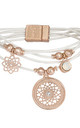 Seren Layered Leather Bracelet with Dreamcatcher Charm in White and Rose Gold by Bibi Bijoux