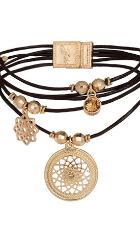 Seren Layered Leather Bracelet with Dreamcatcher Charm in Tan and Gold by Bibi Bijoux