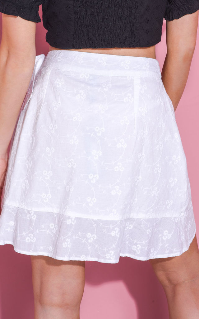 Broderie anglaise frill tie wrap mini skirt white by LILY LULU FASHION