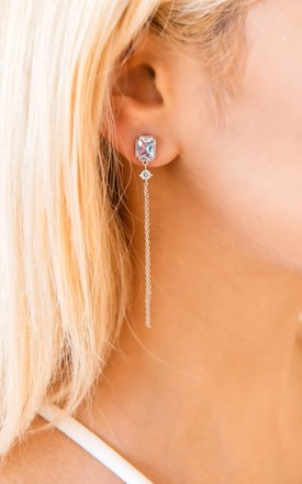 Silver Dainty Drop Earrings by With Bling
