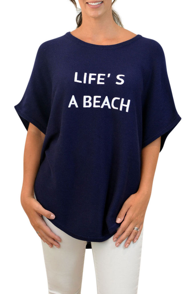 LIFE'S A BEACH navy cotton cashmere poncho jumper by Mimi & Thomas® cashmere & leather
