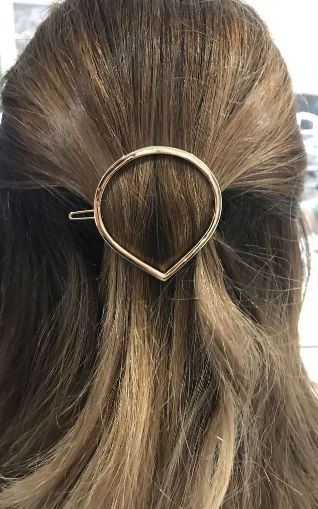 Gold Teardrop Hairclip by Tutti & Co