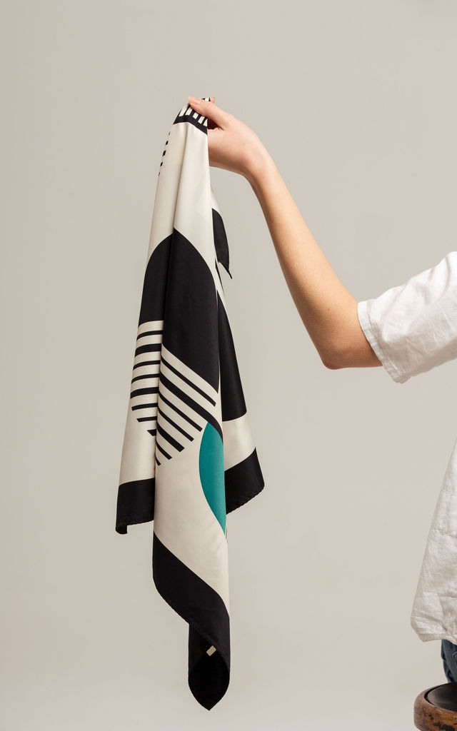 Black, teal and white Geometric neckscarf by Tutti & Co