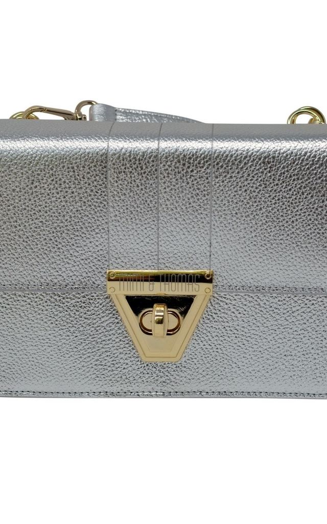 Silver Leather Cross Body Bag With Detachable Purse by Mimi & Thomas® cashmere & leather