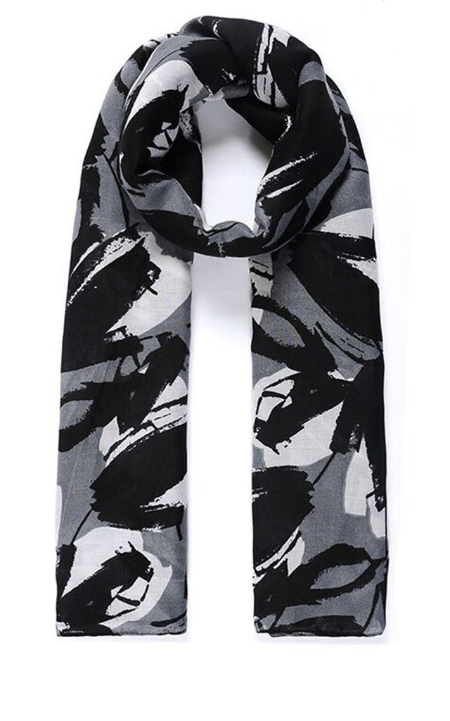 Lightweight Scarf in Black/Grey Lily Floral Print by Ruby Rocks Boutique