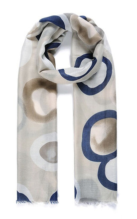 Lightweight Scarf in Grey/Blue Watercolour Circle Geometric Print by Ruby Rocks Boutique