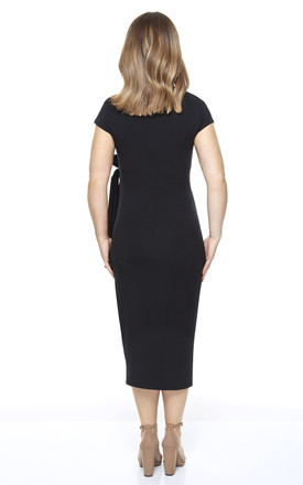 Maternity Breastfeeding Midi Dress with Tie Front in Black by Want That Trend Maternity