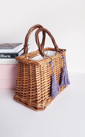 Square basket wicker tassel tote bag by Rianna Phillips