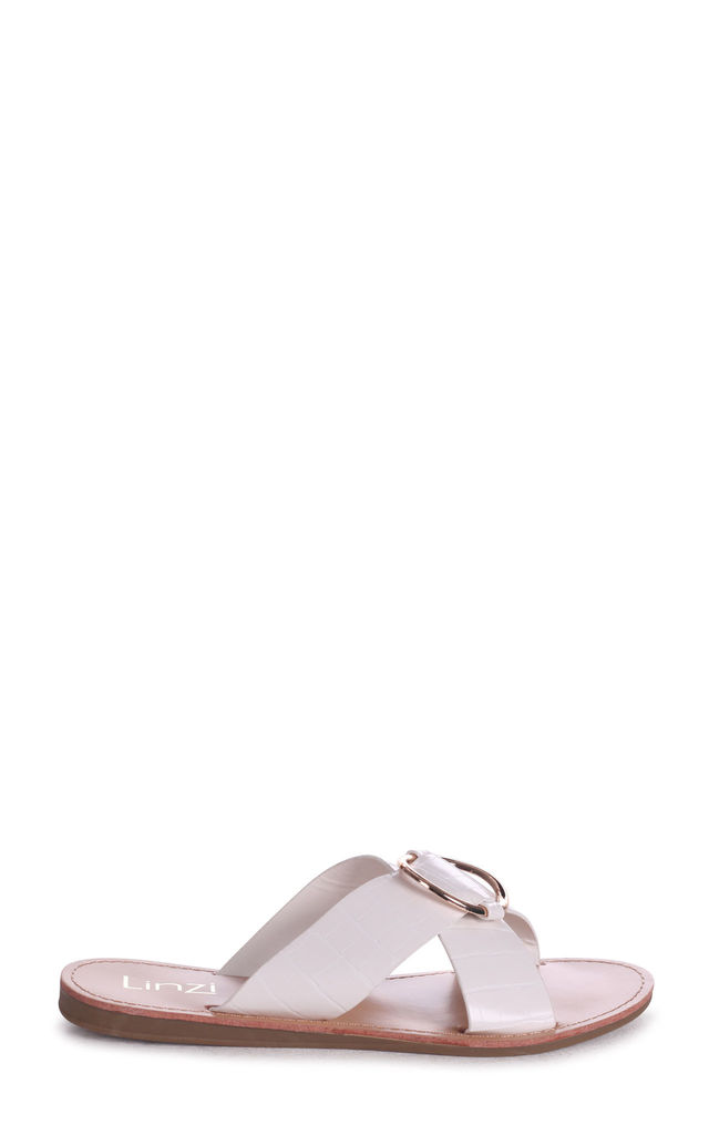 Bailey White Croc Slip On Slider With Crossover Front Strap & Ring Detail by Linzi