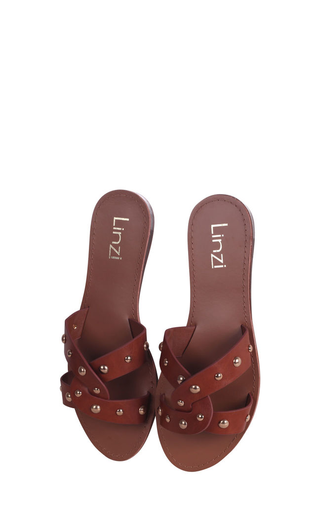 Goa Tan Nappa Sliders With Studded Front Strap by Linzi
