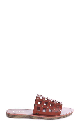 Peaches Tan Nappa Slip On Slider With Studded Caged Front Strap by Linzi