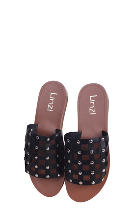 Peaches Black Nappa Slip On Slider With Studded Caged Front Strap by Linzi