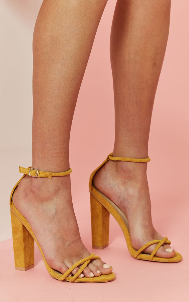 Mustard Rectangle Faux Suede Heel by Glamorous