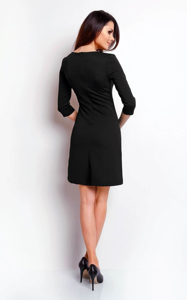 Mini Dress with 3/4 Sleeves and Round Neck in Black by Bergamo