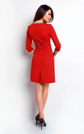 Mini Dress with 3/4 Sleeves and Round Neck in Red by Bergamo