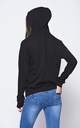 'FAITH' NEON Slogan Black Hoodie With Front Pocket' by The ModestMe Collection