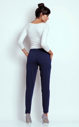 Elastic Trousers Tied at Waist with Pockets in Navy Blue by Bergamo