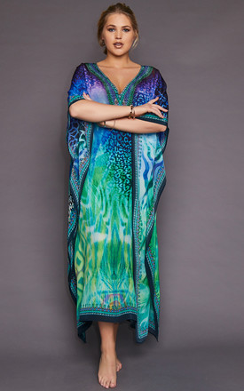 Miami Blues Leopard Print Maxi Kaftan by Kitten Beachwear Product photo