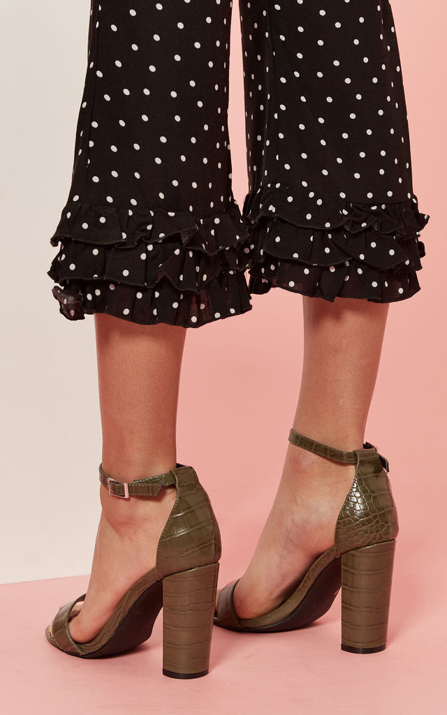 Olive Croc Block Heel by Glamorous