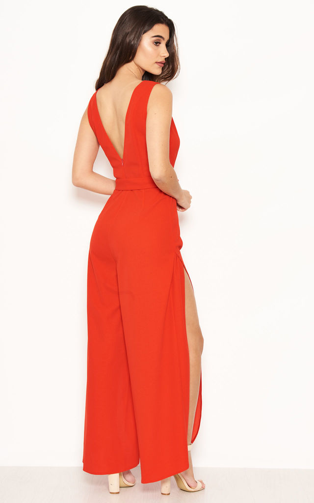 Red Split Leg Jumpsuit by AX Paris