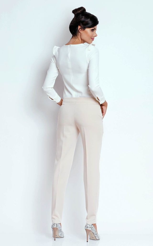 Straight Leg Office Trousers with Pockets in Beige by Bergamo