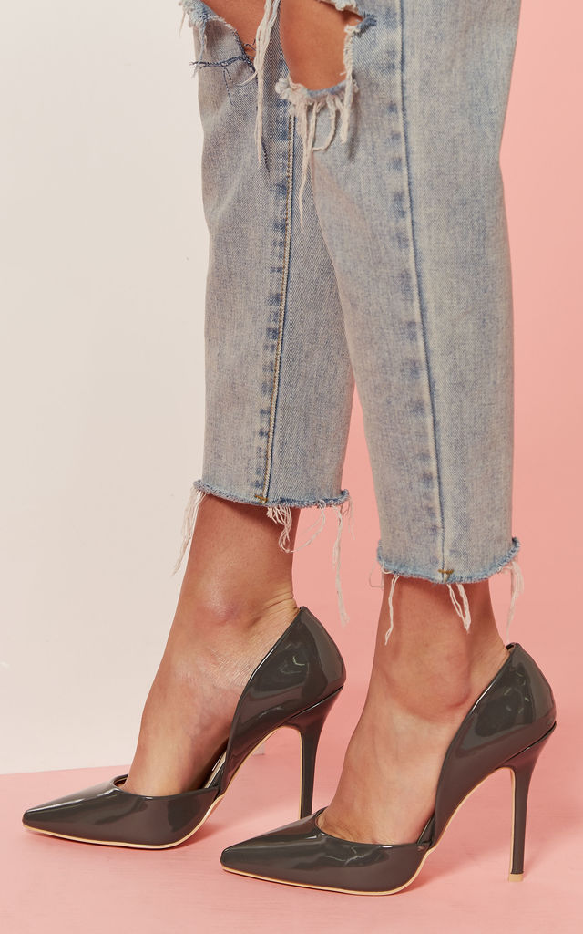 Grey Patent Court Shoe by Glamorous