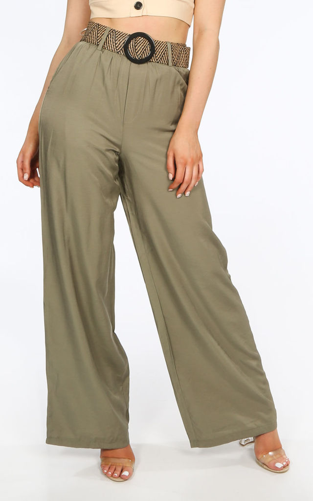 Khaki Belted Wide Leg Trouser by Dressed In Lucy