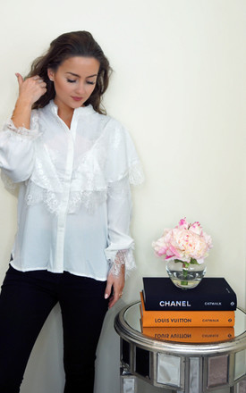 Lace Trim Blouse (White) by Styled Clothing Product photo