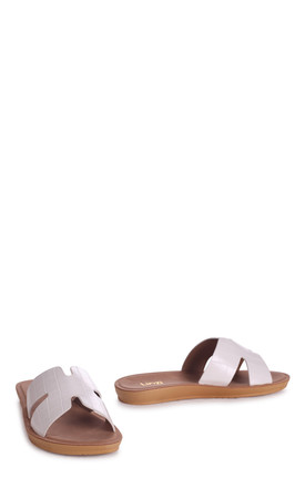 Greece White Croc Slip On Slider With Link Shaped Front Strap by Linzi