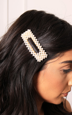 Large Rectangle Pearl Hair Clip in Gold Tone by One Nation Clothing