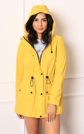 Dottie Matte Rubberised Hooded Raincoat Mac in Yellow by One Nation Clothing