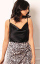 Satin Cowl Neck Cami Top in Black by One Nation Clothing