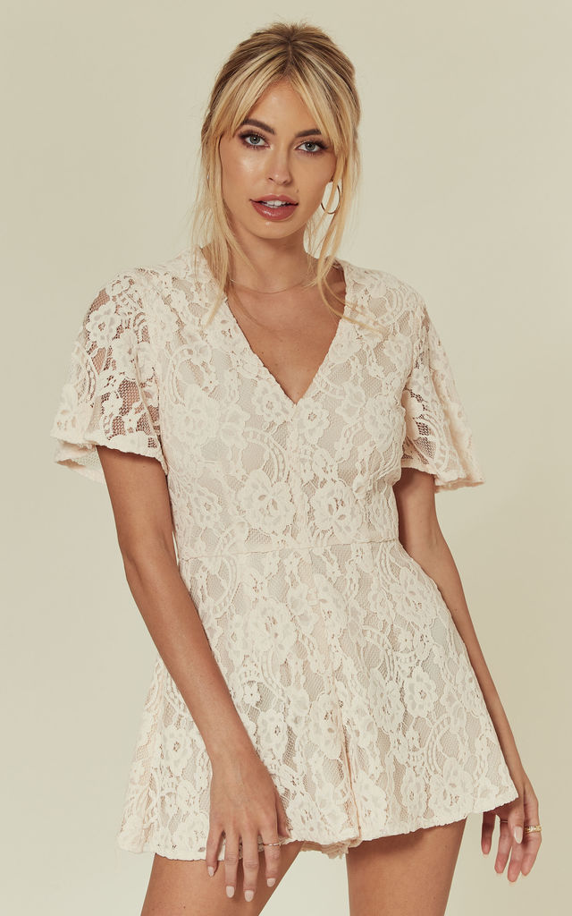 Flare Sleeve Lace Playsuit by Another Look