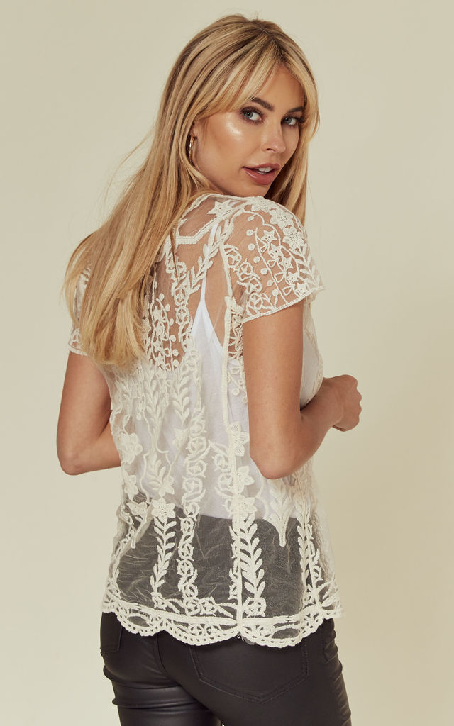 Summer Floral Crochet Short Sleeve Top in White by CY Boutique