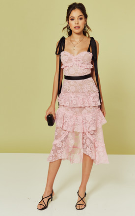 Iris Hi Low Frill Midi Dress In Pink Lace by For Love And Lemons Product photo