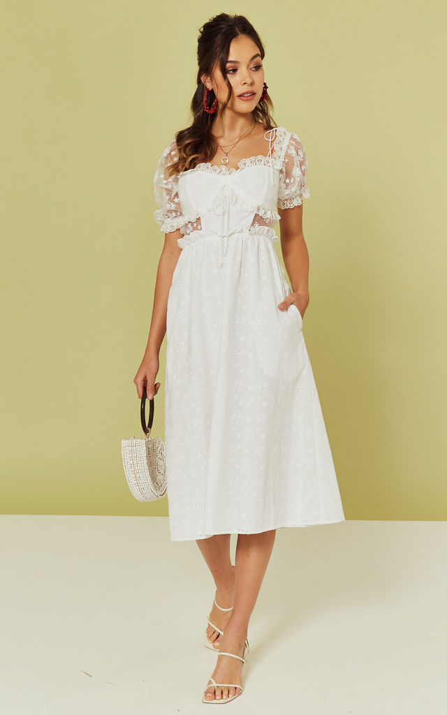 Sadie Midi Dress in White by For Love And Lemons