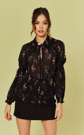 Delta Blouse In Black Floral by For Love And Lemons Product photo