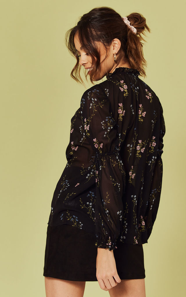 Delta Blouse in black floral by For Love And Lemons