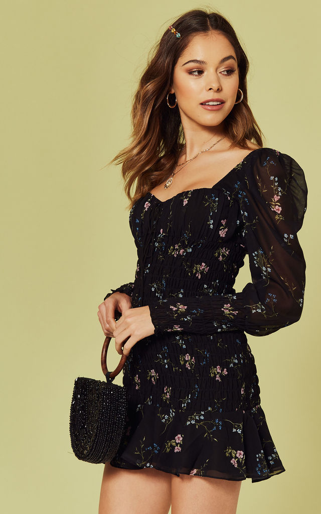 Dixon Mini Dress In Black Floral For Love And Lemons Silkfred
