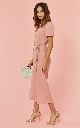 Button Front Culotte Jumpsuit in Pink by Glamorous