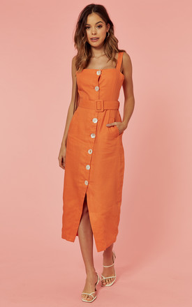 Belted Button Front Midi Dress In Orange by Glamorous Product photo
