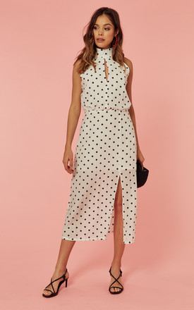 Halterneck Midi Dress With Open Back In White Polka Dot by Glamorous Product photo