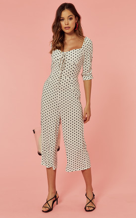 Culotte Jumpsuit With Sweetheart Neck In White Polka Dot by Glamorous Product photo