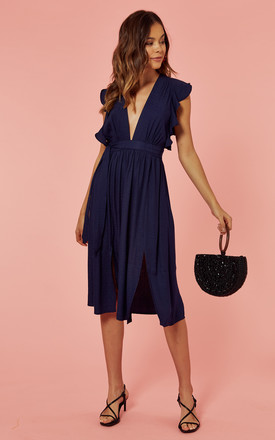 Frill Sleeve Plunge Midi Dress In Navy Blue by Glamorous Product photo