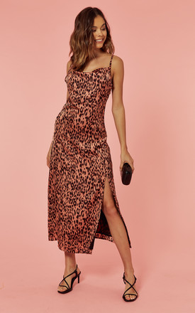 c6cc358dc Cowl Neck Midi Slip Dress In Silky Pink Leopard | Glamorous | SilkFred