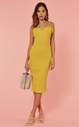 Strappy Ribbed Bodycon Midi Dress In Yellow by Glamorous Product photo