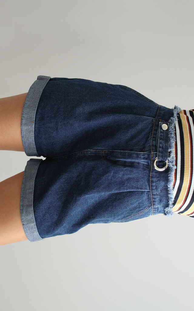 High Waisted Denim Shorts With Eyelet Ring Waist by Martinali