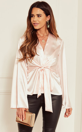 Kimono Sleeve Twist Front Top In Silky Blush Pink by Luna Product photo