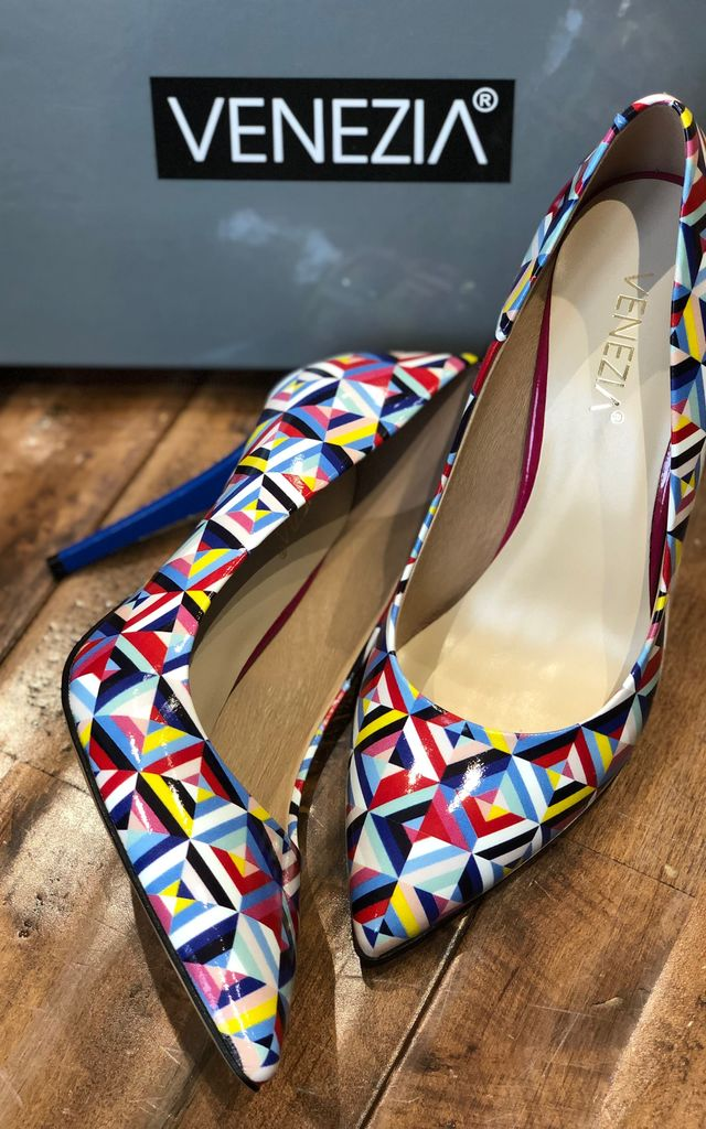 MULTICOLOURED GEO PRINT LEATHER HIGH HEEL SHOES by E&A Fashion